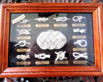 Nautical Knots, Sailor Knots, Nautical Shadow box, Nautical Decor, Nautical Wall Art, Marine Knots, Marine Shadow box, Rustic Beach Decor