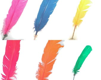 Colored Feather Quill Pen -Black Ink-Gifts for writers-Wedding Pen- magical- red/orange/ green/ blue/ yellow/ pink/brown/black/peach/white