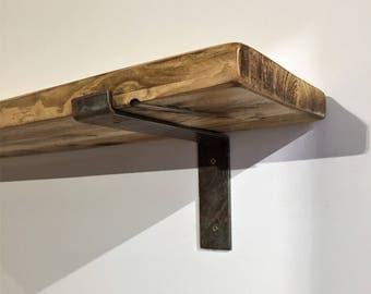 220mm x 38mm Reclaimed pine shelf with Industrial Metal Bracket
