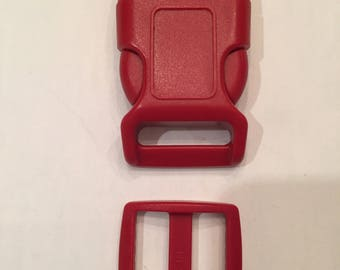 "Red 1"" Curved Side Release Buckles and Slides"