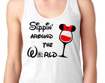 Sippin' around the world - Ladies Racerback Tank - Epcot food and wine festival Shirt tank