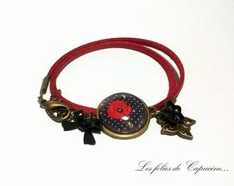 Suedine bracelet Cabochon • poppies girl •