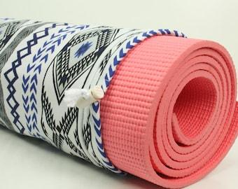 Cotton Yoga Pilates Mat Bag- Aztec Print