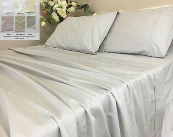 pima cotton bed cotton long fiber bed sheets set sateen weave - Pima Cotton Sheets