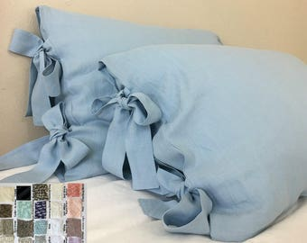 Linen Euro Sham Cover with Ties, over 41 colors and patterns, all sizes, 12x16, 16x16, 18x18, 20x20, 24x24, 26x26, 28x28,