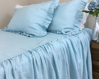 Dove Linen Bedspread with Gathered Ruffle – Fairyland!