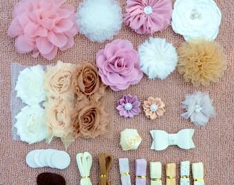 DIY Baby Shower Headband Kit, DIY Headbands, Headband Making Kit, Girls Headbands, Dusty Pink, Ivory, White, Brown Headbands