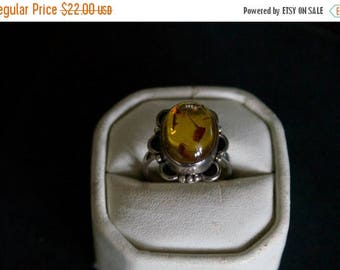 ON SALE Marvellous Amber Silver Ring
