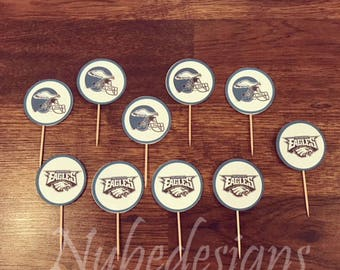 Patriots vs Eagles Cupcake Toppers