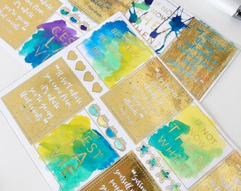 Hand Painted Water Color & Foiled Planner Stickers (Teal)   Erin Condren Stickers   Limelife Stickers   Sugar Paper Planner