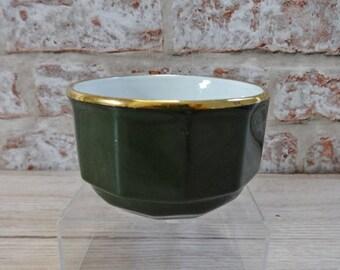 Apilco Green gold sugar bowl
