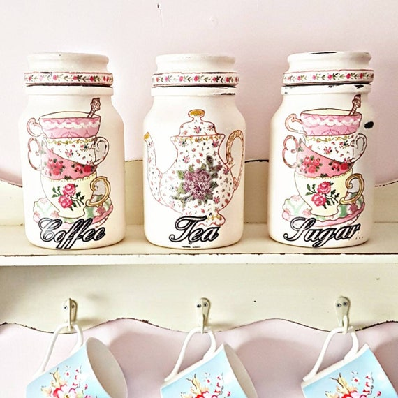 Tea, coffee, sugar kitchen jars, kitchen storage, kitchen decor, new home gift, canister sets, tea gift, shabby chic kitchen, gift for her