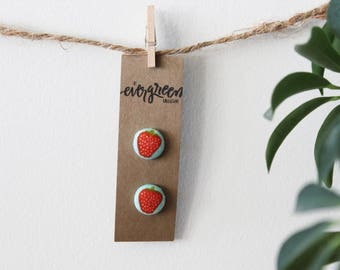 Strawberry Button Earrings