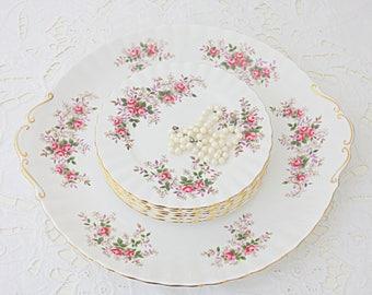 Beautiful Vintage Royal Albert 'Lavender Rose' Cake Set, England