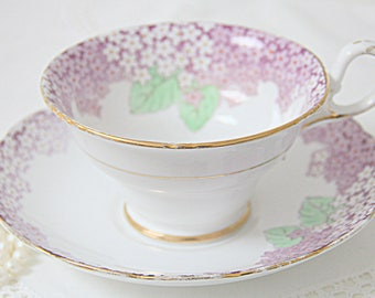 Vintage Grosvenor Porcelain Teacup and Saucer, Numbered, Millefleur Decor, England