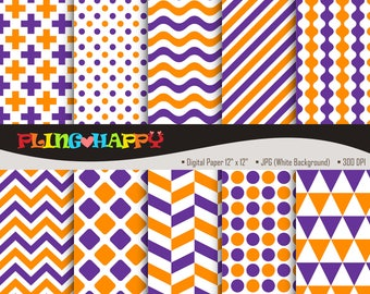 70% OFF Rebecca Purple And Dark Orange Digital Papers, Seamless Pattern Graphics, Personal & Small Commercial Use, Instant Download