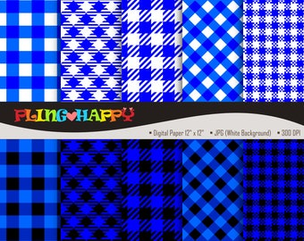 70% OFF Blue And Black Gingham Digital Papers, Gingham Pattern Digital Papers Graphics, Personal & Small Commercial Use, Instant Download