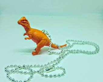 Dinosaur Necklace Silver Ball Chain Orange and Red Dinosaur Jewelry Gifts 5 and Under