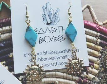 Sun Turquoise Drop Earrings