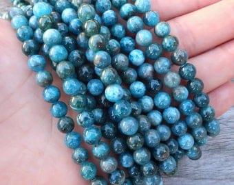 "6mm Smooth Blue Apatite beads, 15"" strand | R6S-114"