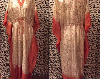 Vintage 1970s 1980s Indian Silk Caftan Dress Ethnic Boho Hippie Festival Clothing Free Size