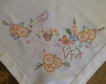 Vintage Linen Table Cloth with Hand Embroidered Crinoline Lady 90cm Square