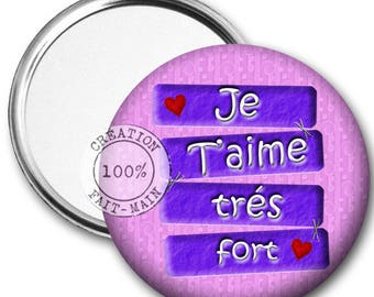 50 mm Pocket mirror I love you very strong/gift