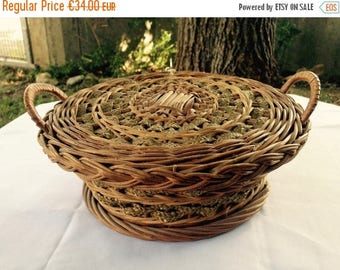 ON SALE Wicker Sewing Basket//Sewing Basket//Wicker basket//Antique Wicker//Rope Basket//Needlework Basket//Found And Flogged