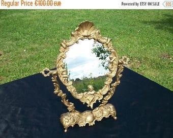 ON SALE Art Deco Mirror//Antique Brass Mirror//Dressing Table Mirror//Vanity Mirror//Art Deco//1930's//Mirror//Found And Flogged