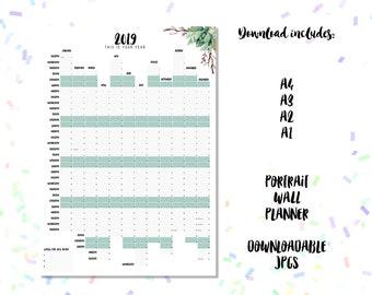 2019 Wall Planner Downloadable. Botanics Design A4 A3 A2 + A1