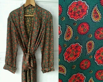 Vintage 1950s 1960s Green Dressing Gown Large