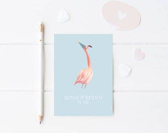 Printable Happy Birthday Flamingo Card - Flamingo Greeting Card - Flamingo Party Card - Instant Download Card - Happy Birthday Card