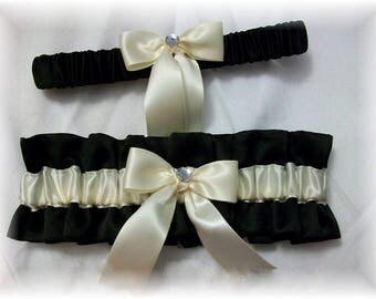 Black and Ivory Satin Wedding Bridal Garter Set, Satin Bridal Garter, Black Wedding Garter, Ivory Bridal Garter, Satin Wedding Garter