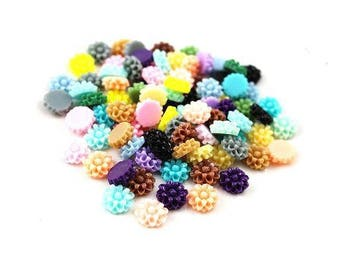 16 12 mm resin flower cabochons