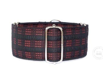 "September, black and red, dog collar, wide sighthound collar, 2"" martingale, 1.5"" martingale, 1"" martingale"