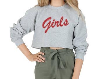 Girls Crop Sweater Jumper Sweatshirt Cropped Fashion Summer Friends 90's Retro