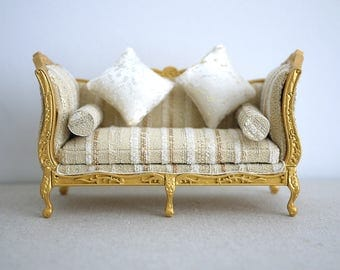 Dollhouse armchair cushion luxury dolls house twin double seat sofa living room 1 12th scale miniature