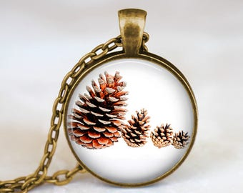 Pine Cone Family - Nature Flower Handmade Pendant Necklace