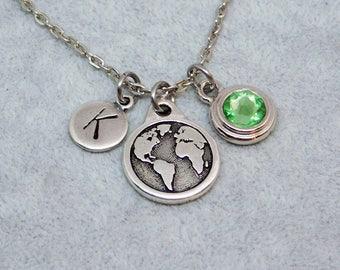Silver World map - Earth necklace, swarovski birthstone, initial necklace, birthstone necklace