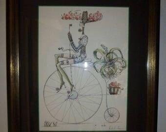Lena Subota Art Penny Farthing Bike Surreal pen/ink Quentin Blake/Yellow Submarine
