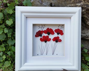 Sea Glass Art, Stained Sea Glass Poppies, Anniversary, Wall Art, Mother's Day, Cornish Pebble Art, Birthday Gift, Picture Frames, Mosaics