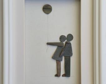 Anniversary Gift, Pebble Art Picture, Pebble Couple, Family, Personalised Picture, Cornish Pebble Art, Cornwall, sea glass heart,
