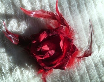 large pink artificial flower pattern + feathers