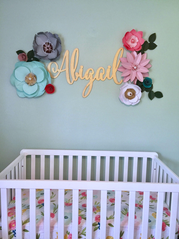 mint paper flowers wall decor baby girl nursery bedroom gray