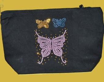 Black clutch with beaded butterflies