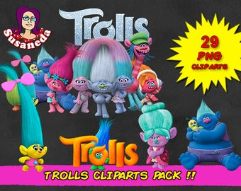 TROLLS cliparts, 29 Cliparts Pack, Trolls pngs, transparent background, instant download