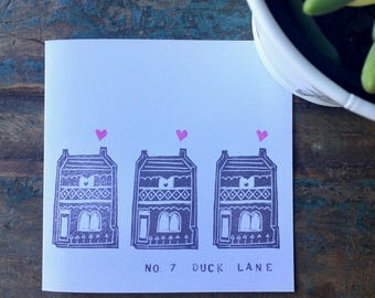 New Home Housewarming Personalised Hand Printed Greetings Card - Block Printed on Recycled White Card