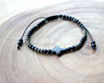Cross Beaded Bracelet /Men's Beaded Bracelet
