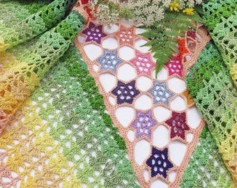"Summer shawl - crochet cotton shawl - summer shawls - handmade wrap - boho openwork shawl - hand crochet stole - boho cotton wrap ""Flora"""
