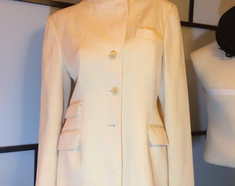 DKNY Donna Karan New York Off White Wool Blazer Coat Jacket